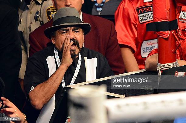 Trainer Ruben Guerrero calls out from th corner as his son/figther Robert Guerrero takes on Floyd Mayweather Jr in their WBC welterweight title bout...