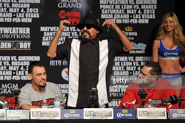 Trainer Ruben Guerrero father of boxer Robert Guerrero calls Floyd Mayweather Jr a wife beater during the final news conference for the bout between...