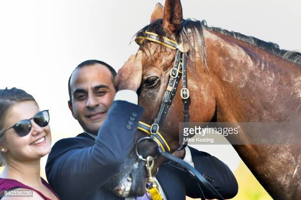 Trainer Saab Hasan after his horse Shoreham won Le Pine Funerals Easter Cup at Caulfield Racecourse on March 31 2018 in Caulfield Australia