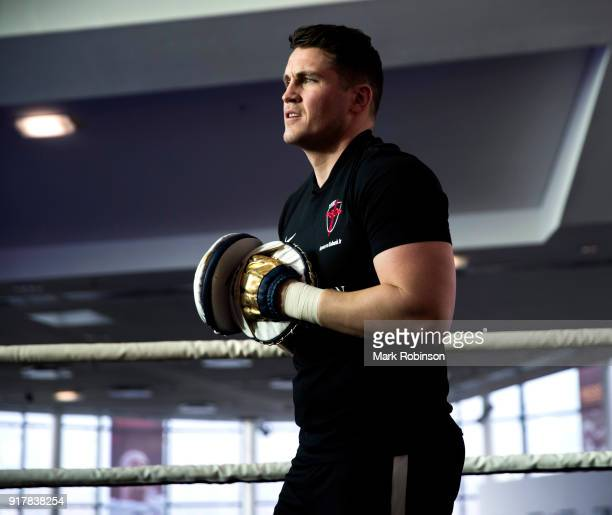 Trainer Shane McGuigan during a workout with his fighter George Groves at National Football Museum on February 13 2018 in Manchester England