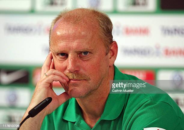 Trainer Thomas Schaaf speaks to the media during a press conference of Werder Bremen on June 29 2011 in Bremen Germany