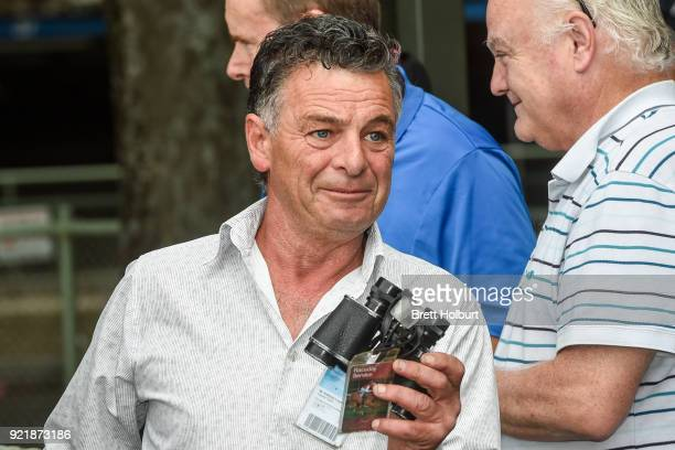 Trainer Tony Logan after his horse Borrow won the Iron Jack FM Maiden Plate at Kyneton Racecourse on February 21 2018 in Kyneton Australia