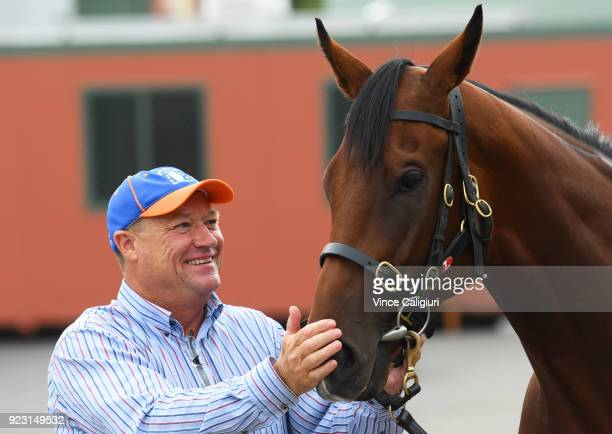 Trainer Tony McEvoy poses with Kinky Boom during a stable call at Flemington Racecourse on February 23 2018 in Melbourne Australia Kinky Boom will...