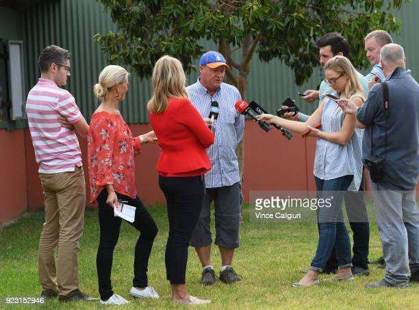 Trainer Tony McEvoy talks to media during a stable call at Flemington Racecourse on February 23 2018 in Melbourne Australia Kinky Boom will line up...