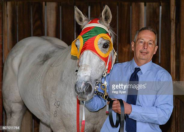 Trainer Tony Parker with Freshwater Storm after winning Mortimer Petroleum Gold Nugget at Caulfield Racecourse on September 17 2016 in Caulfield...