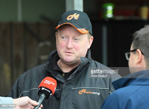 Trainer Wayne Hawkes talks to media after champion sprinter Chautauqua refused to jump again during Cranbourne Barrier Trials on March 19 2018 in...