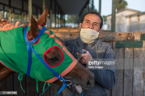 A trainer wearing a face mask prepares a horse for precompetition training during competition day as Uruguay slowly returns to normal due to...