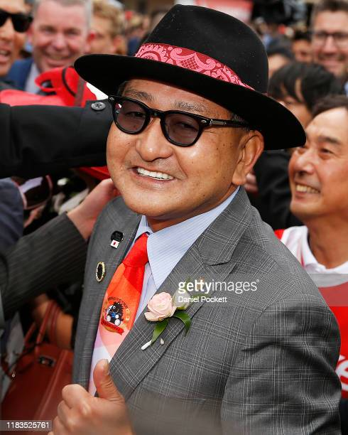 Trainer Yoshito Yahagi celebrates after winning race 9 the Ladbrokes Cox Plate during Cox Plate Day at Mooney Valley Racecourse on October 26, 2019...