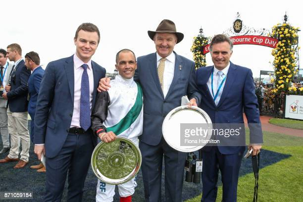 Trainers Ben Hayes David Hayes and Tom Dabernig with Michael Walker after Fanatic after won the Ronald McDonald House Charities Plate at Flemington...
