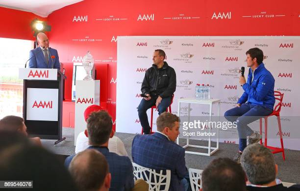 Trainers Chris Waller and James Cummings speak during the AAMI Victoria Derby Day media conference at Flemington Racecourse on November 3 2017 in...