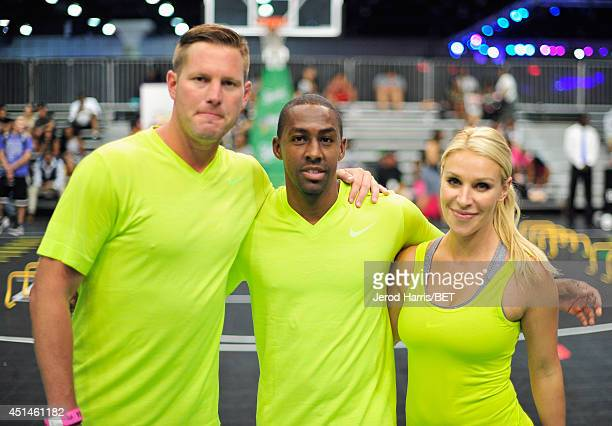 Trainers Joe Barton Trey Lee and Kristin Brand attend the Sprite Court during the 2014 BET Experience At LA LIVE on June 29 2014 in Los Angeles...