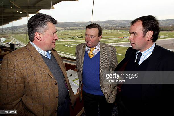 Trainers Paul Nicholls Nicky Henderson and Alan King at a media briefing at Cheltenham Racecourse on March 3 2010 in Cheltenham England The annual...
