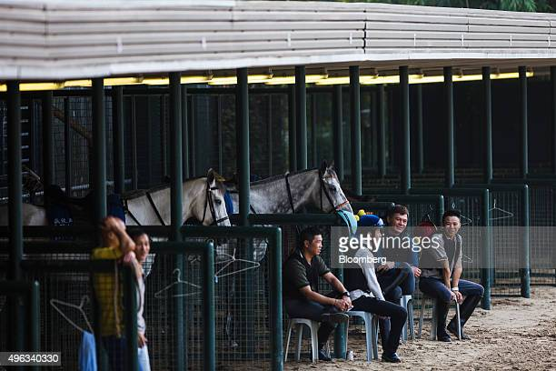 Trainers sit near horses in stables during a morning session at a training facility of the Sha Tin Racecourse, operated by Hong Kong Jockey Club, in...
