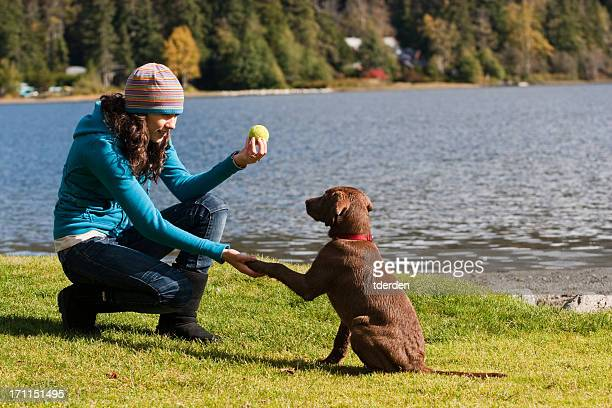 Training a Puppy by the lake