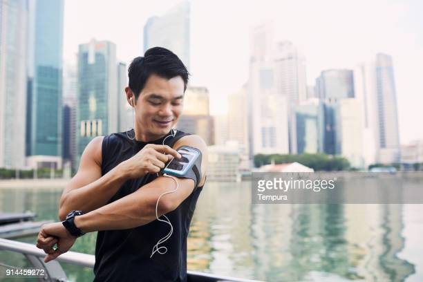 Training and running in Singapore's Marina Bay waterfront, Asia