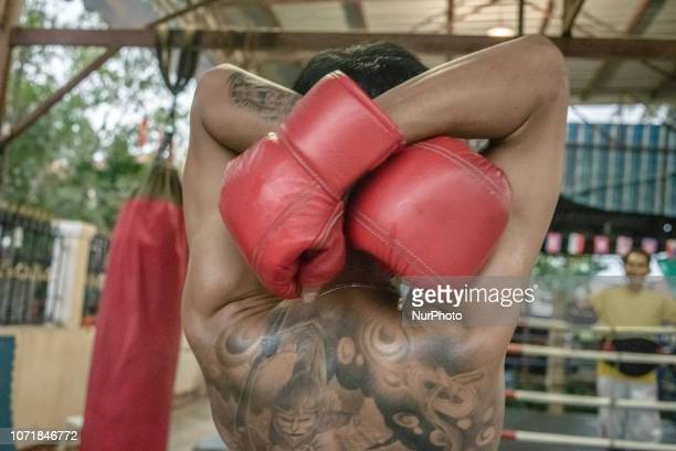 Training at the Muay Lao school of martial arts in Vientiane Laos on December 11 2018 Khoun Chai Sikhot Boxing Sport Club is a small Muay Lao school...