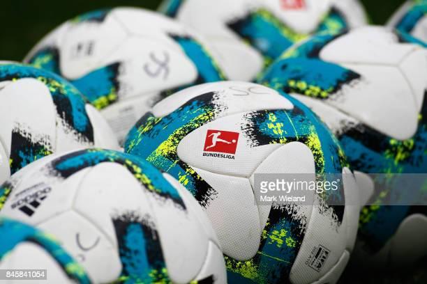 Training balls are seen prior to the women Bundesliga match between Bayern Muenchen and SC Freiburg at Stadion an der Gruenwalder Strasse on...