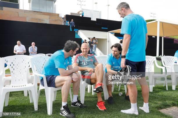 Training Camp PSV in Qatar Mark van Bommel of PSV Arjen Robben of Bayern Munchen John de Jong of PSV Andre Ooijer of PSV during the Training Camp PSV...