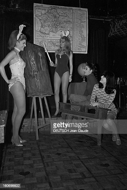 Training Center For Small Rabbits And Bunnies Paris10 Avril 1967 Cabaret Le Black Star deux jeunes femmes en costume de Bunnie ou petit lapin posant...