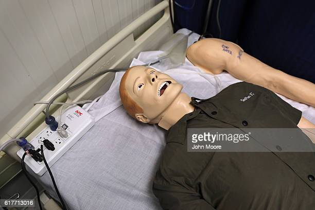 A training dummy lies inside the detainee clinic of the Gitmo maximum security detention center on October 22 2016 at the US Naval Station at...