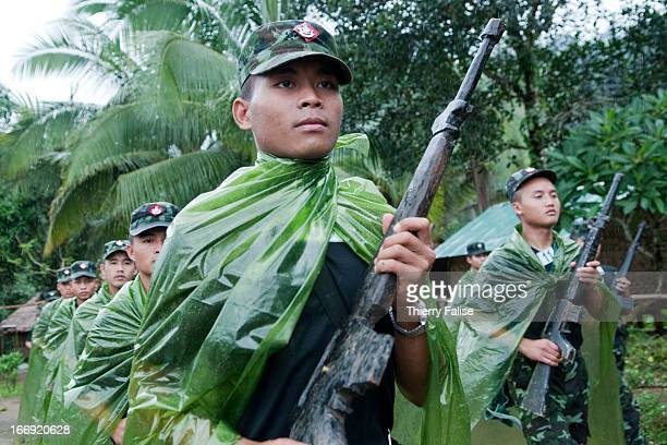 Training for young recruits of the 5th Brigade of the Karen National Liberation Army