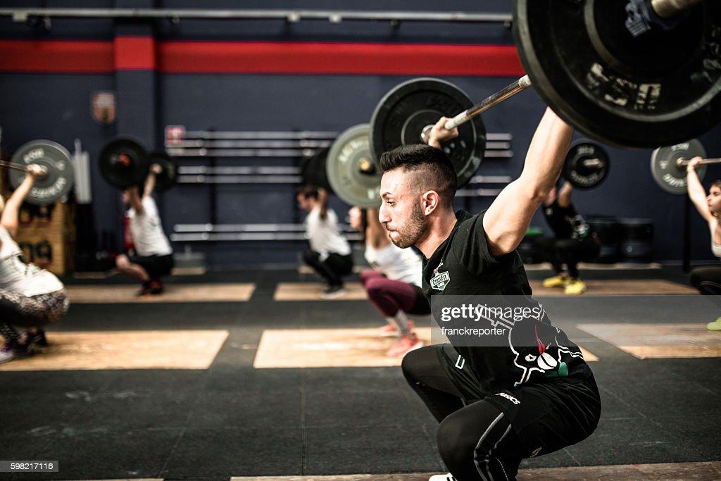 training gym class weightlifting on a gym La Mole gym : Stock Photo