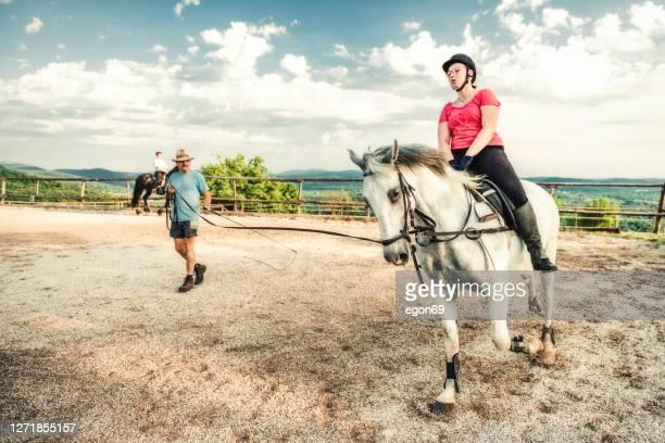 técnica de treinamento de equitação - cavalo família do cavalo - fotografias e filmes do acervo