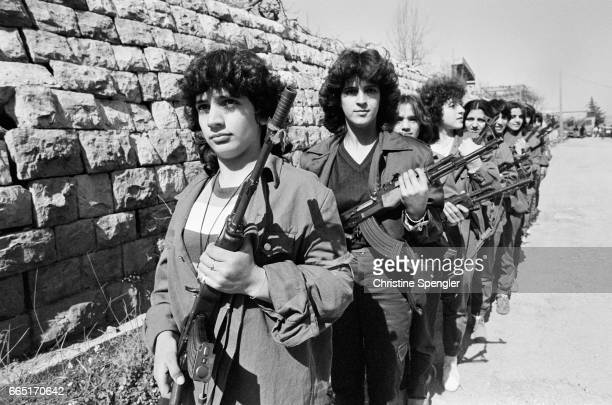 Training of women fighters of the Progressive Socialist Party . The PSP is related to the Druze religious community, who fought the Maronite...