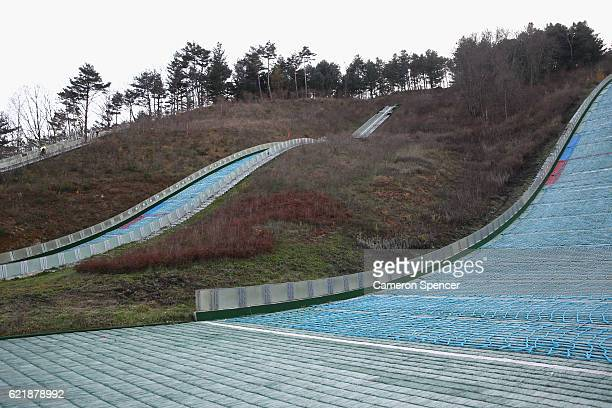Training Ramps located at the Alpensia Ski Jumping Centre venue for Ski Jumping Big Air and Nordic Combined ahead of the 2018 PyeongChang Winter...