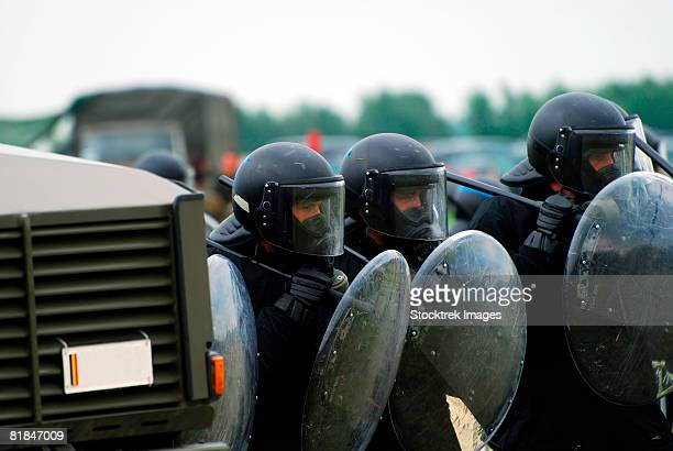 A training session in riot and crowd control.