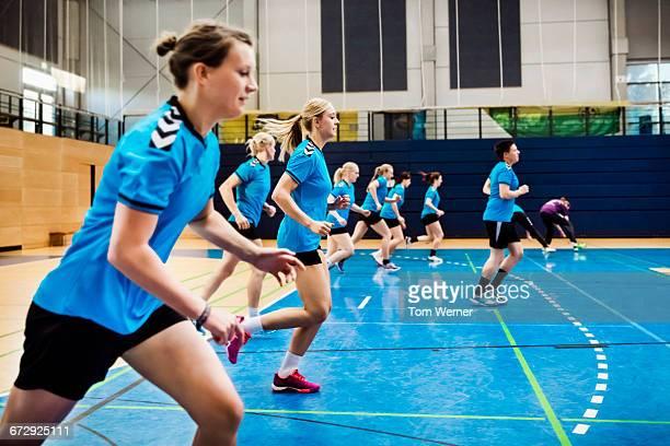Training session of a female handball team