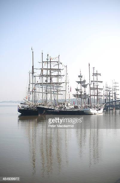 Training Ship Tenacious lies at anchor with other tall ships on the River Thames at Woolwich on September 8 2014 in London England The Tenacious is...