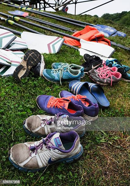 Training shoes are left on the riverbank as rowers from across the country take part in the 183rd annual regatta on the River Wear on June 11 2016 in...