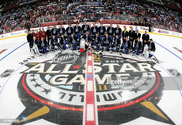 Training staff Joffrey Lupul of Toronto Maple Leafs Marian Gaborik of the New York Rangers Jamie Benn of the Dallas Stars Evgeni Malkin of the...