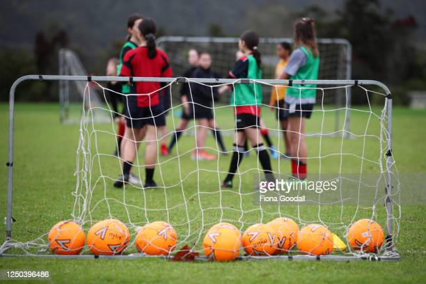 Training the the rain for the Warkworth Football Club's 13th grade girls Phoenix team at Shoesmith Domain, Warkworth on June 18, 2020 in Auckland,...