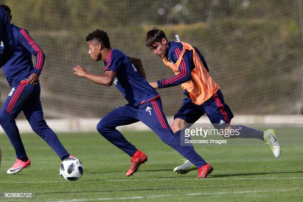Trainingskamp Ajax Lagos David Neres of Ajax Nicolas Tagliafico of Ajax during the match between Training Camp Ajax in Portugal on January 10 2018 in...