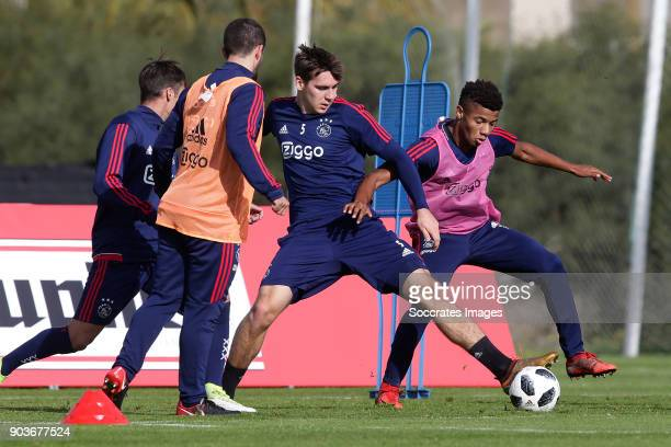 Trainingskamp Ajax Lagos Maximilian Wober of Ajax David Neres of Ajax during the match between Training Camp Ajax in Portugal on January 10 2018 in...