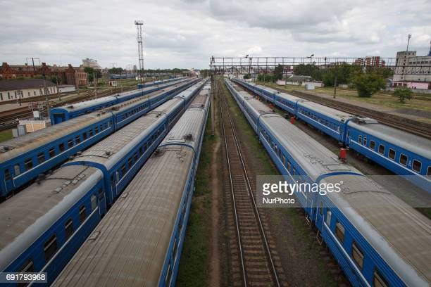 Trains are seen at the Brest central station on 1 June 2017 As the city is situated next to the Polish border it has become a hub for persons from...