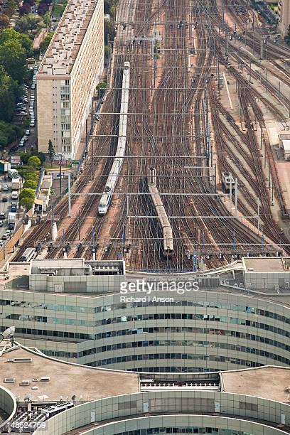 Trains arriving at Gare Montparnasse railway station.