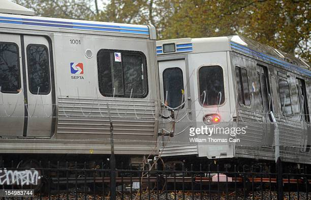 trains at Frankford terminal remain idle as Hurricane Sandy approaches October 29 2012 in Philadelphia Pennsylvania Philadelphia Mayor Michael Nutter...