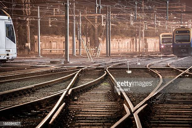 trains at night - shunting yard stock photos and pictures