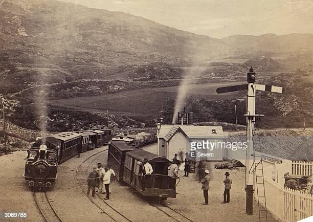 Trains at Tan-y-Bwlch station on the Festiniog Railway , Snowdonia, North Wales.