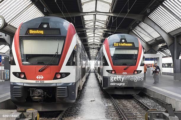 Trains departing from Zurich station