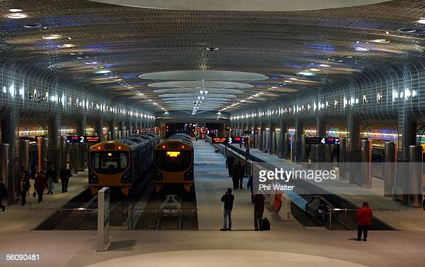 Trains in the Britomart Station in downtown Auckland on the opening day of the citys new rail commuter and public transport service