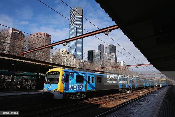 A trains is left by striking Train Union workers at Flinders Street Station on September 4 2015 in Melbourne Australia The strike over pay and...
