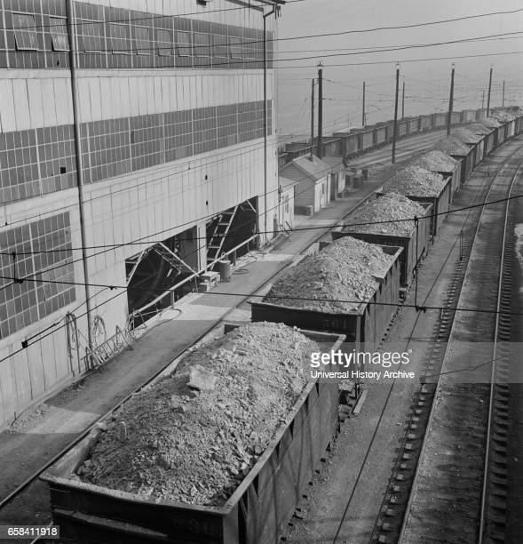 Trains of Ore Containing Copper Arriving at Refining Plant Salt Lake County Utah USA Andreas Feininger for Office of War Information November 1942