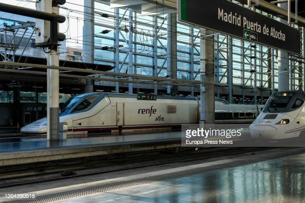 Trains of Renfe´s Ave are seen arriving to Atocha train station on February 06 2020 in Madrid Spain