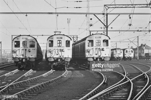 Trains on the sidings at Southend-on-Sea during the National Rail Strike called by ASLEF, , UK, February 1973.