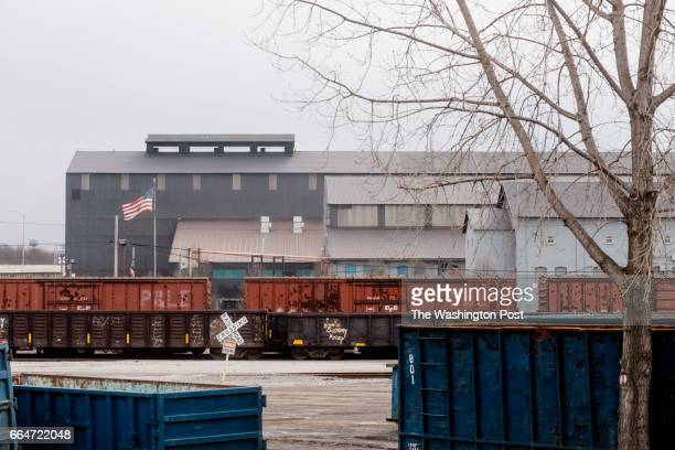 YOUNGSTOWN OHIO MARCH 2 Trains sit in the yard of Frenchowned Vallourec Star a steel mill in Youngstown Ohio on March 2 2017 Mahoning County home to...