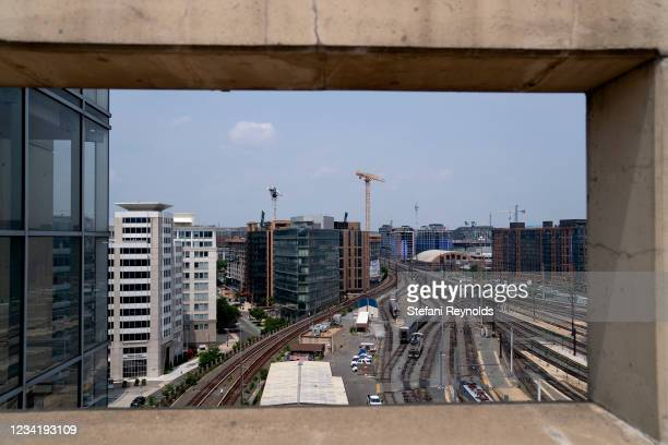 Trains sit on tracks at Union Station on July 25, 2021 in Washington, DC. Lawmakers on Capitol Hill are working to finalize an infrastructure...